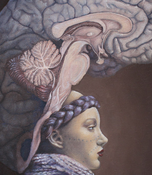 Painting of woman goddess Athena of wisdom with a large brain on her head in the shape of a helmet.