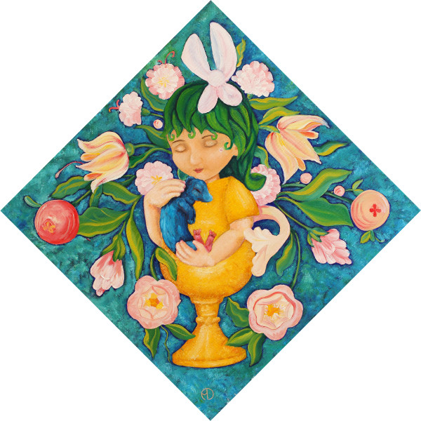 Painting of a cute half girl half golden cup with leaves as hair and a bow, holding a little pet fantasy animal surrounded by folk art style flowers against a blue and green background