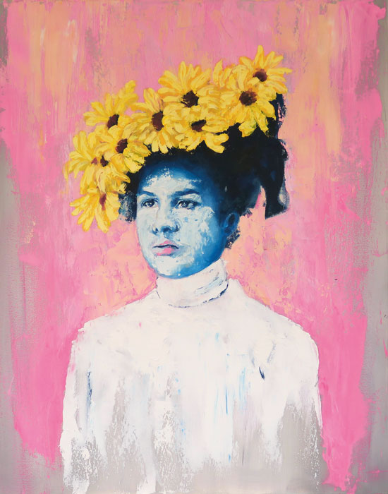 Portrait painting of a lady with sunflowers